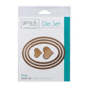 Gina K. Designs (3) Nested Oval Dies • Double Stitch Design • Small Set