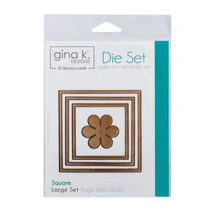 Gina K. Designs (3) Nested Square Dies • Single Stitch Design • Large Set
