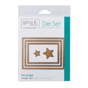 Gina K. Designs (3) Nested Rectangle Dies • Single Stitch Design • Large Set